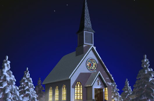 Church at night in a snowy landscape with illuminated windows